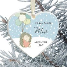 Ceramic Niece Keepsake Heart Christmas Tree Decoration - Hedgehog and Balloons Design